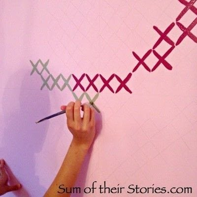 How to make wallpaper / a wall painting. Simple Cross Stitch Mural - Step 3