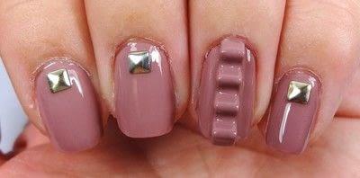 How to paint an embellished nail manicure. Mauve Maniac - Step 2