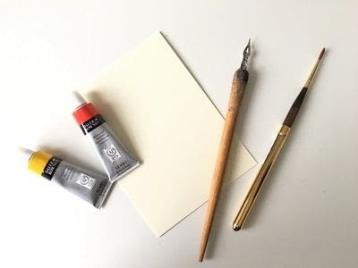How to make a greetings card. Thank You Card Using Watercolor Calligraphy - Step 1