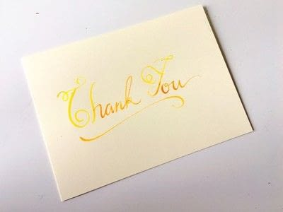 How to make a greetings card. Thank You Card Using Watercolor Calligraphy - Step 5