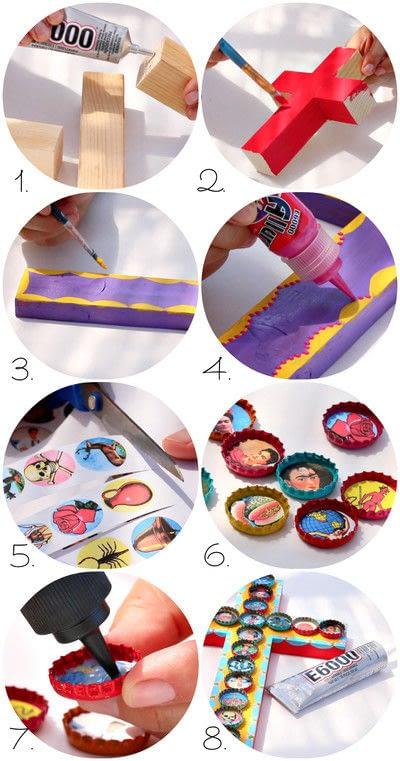 How to make a piece of bottle cap art. Mexican Bottle Cap Folk Art - Step 3