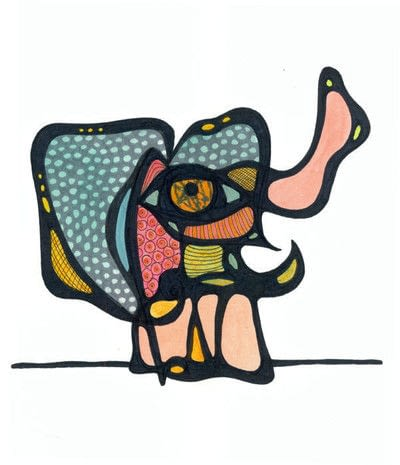How to make a mixed media. Oaxacan Dotted Elephant - Step 4