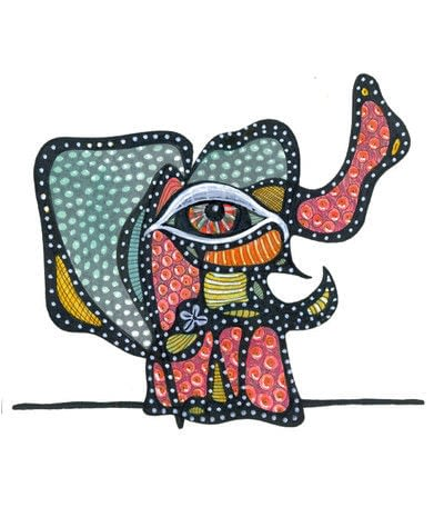 How to make a mixed media. Oaxacan Dotted Elephant - Step 6