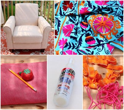 How to make a chair. No Sew Boho Upholstered Chair - Step 2