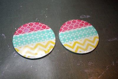 How to make an earring. Washi Tape Earrings - Step 9