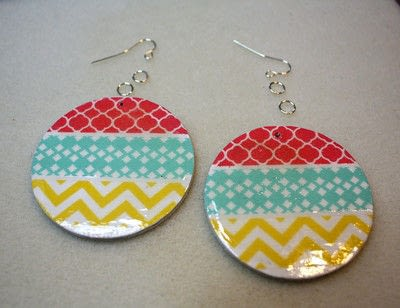 How to make an earring. Washi Tape Earrings - Step 11