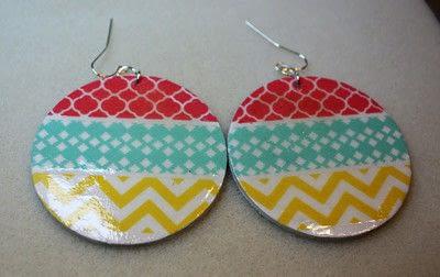 How to make an earring. Washi Tape Earrings - Step 12