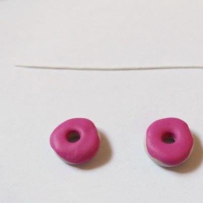 How to make a pair of clay earring. Doughnut Earrings - Step 12