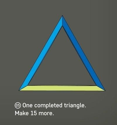 How to fold an origami shape. 16 Triangles - Step 13