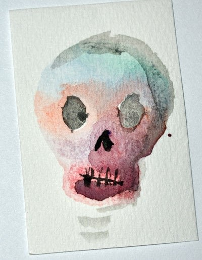How to paint a piece of watercolor art. Sugar Skull Inspired Stamp And Watercolor Prints - Step 2