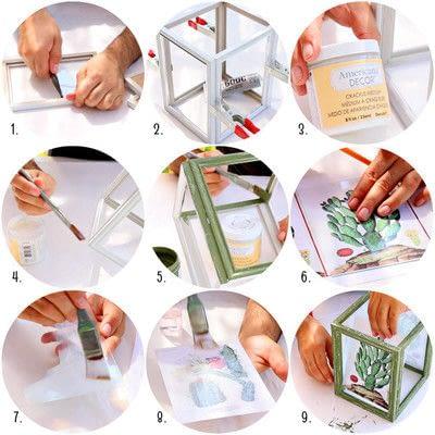 How to make a decorative light. Dollar Store Frame Lanterns - Step 3