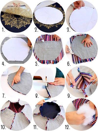 How to make a shaped cushion. Rag Rug Floor Pouf  - Step 3