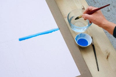 How to paint a piece of watercolor art. Laying A Graduated Wash - Step 1
