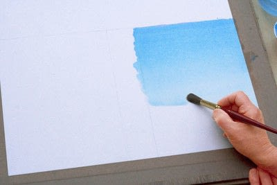 How to paint a piece of watercolor art. Laying A Graduated Wash - Step 3