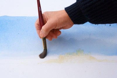 How to paint a piece of watercolor art. Laying A Graduated Wash - Step 6