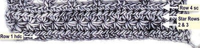 How to make a crochet. Star Stitches with Love Knots - Step 5