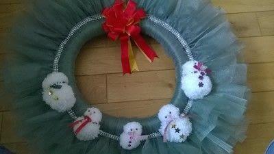 How to make a wreath. Snowmen Christmas Wreath - Step 6