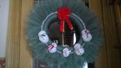 How to make a wreath. Snowmen Christmas Wreath - Step 7