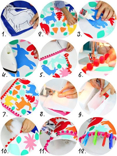 How to make a pillow/cushion. Otomi Fabric Pillows And Shade - Step 3