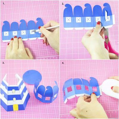 How to make a lantern. Diy Printable Lighthouse Tealight Holder - Step 2