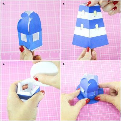 How to make a lantern. Diy Printable Lighthouse Tealight Holder - Step 3
