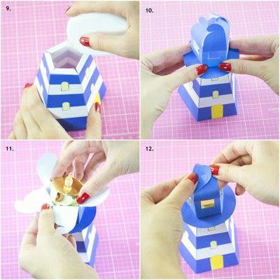 How to make a lantern. Diy Printable Lighthouse Tealight Holder - Step 4
