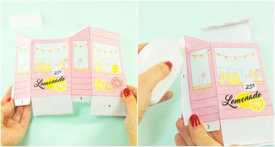 How to make a paper box. Diy Printable Lemonade Stand Favor Box - Step 1