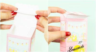 How to make a paper box. Diy Printable Lemonade Stand Favor Box - Step 4