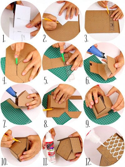 How to make an ornament. Cardboard Ginger Bread House Ornaments - Step 3