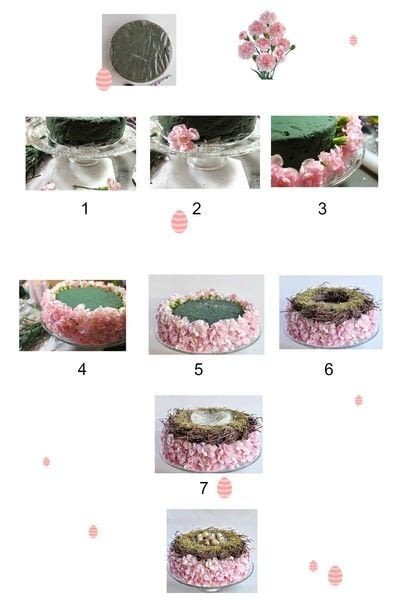 How to make a floral wreath. Easter Decoration With Spray Carnations (Diy) - Step 1
