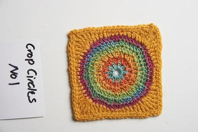How to stitch a knit or crochet blanket. Crop Circles - Step 3