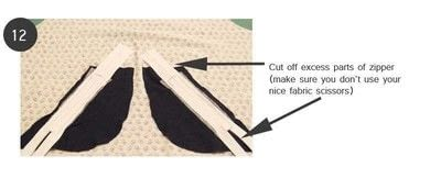 How to sew a pocket. Zippered Angled Pockets - Step 10