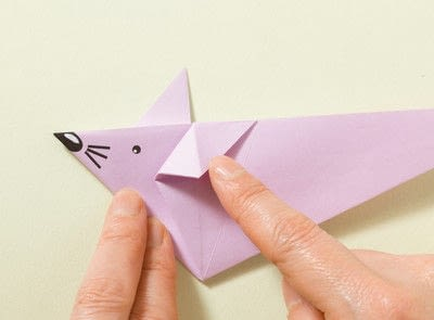 How to fold an origami animal. Origami Mouse - Step 13