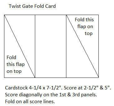 How to make a greetings card. Twist Gate Card Fold - Step 1