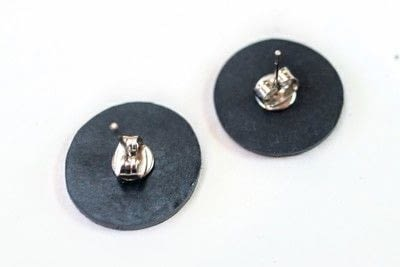 How to make a stud earring. Vinyl Record Stud Earrings - Step 10