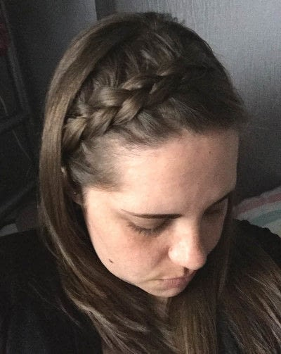 How to style a crown braid. Hair Style For Long Hair Or Between Cuts - Step 4
