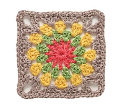 How to crochet a granny square cushion. Circle In A Square Square Cushion - Step 1