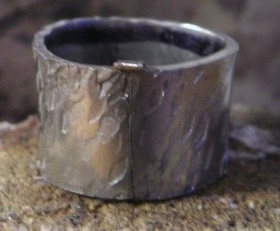 How to make jewelry. Soldering A Textured Pewter Ring - Step 6