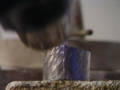 How to make jewelry. Soldering A Textured Pewter Ring - Step 8