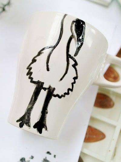 How to make a cup / mug. Bird Mugs - Step 2