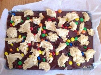 How to bake a bar / slice. M&M Chocolate Cookie Bars - Step 7