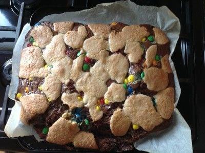 How to bake a bar / slice. M&M Chocolate Cookie Bars - Step 8
