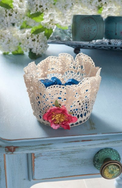 How to sew a fabric basket. Stiffened Doily Bowl - Step 6
