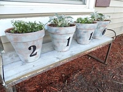 How to make a vase, pot or planter. Diy House Number Painted Pots - Step 3