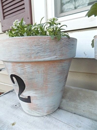 How to make a vase, pot or planter. Diy House Number Painted Pots - Step 4