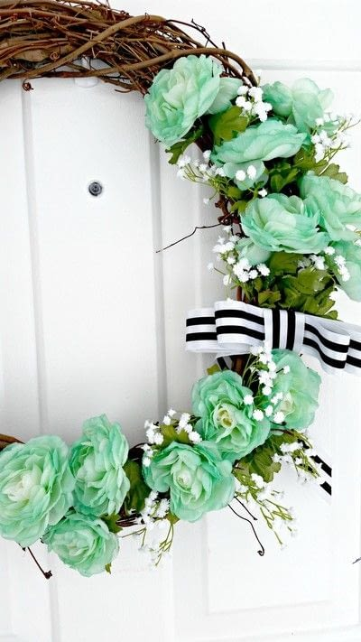 How to make a wreath. Minty Spring Grapevine Wreath - Step 3