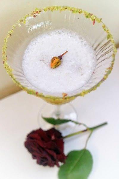 How to mix a flip cocktail. Rose & Pistachio Flip - Step 9