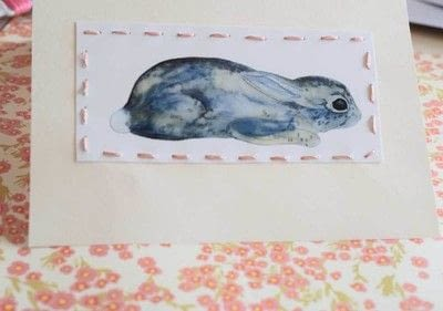 How to make a stitched card. Practice The Running Stitch Using A Free Printable And Make An Adorable Spring/Easter Card - Step 7