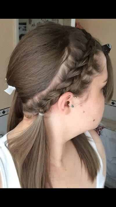 How to style a Dutch braid. Dutch Headband With Fringe - Step 1