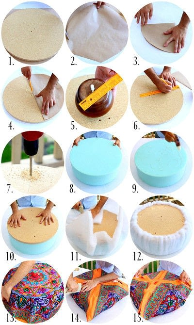 How to make a stool. No Sew Ottoman - Step 2
